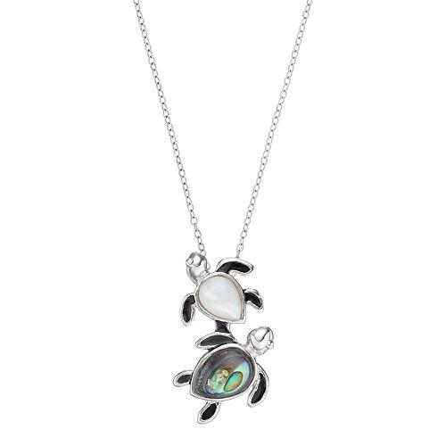 Sterling Silver Gemstone Turtle Pendant Necklace