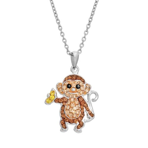 Silver LuxuriesCrystal Monkey Pendant Necklace