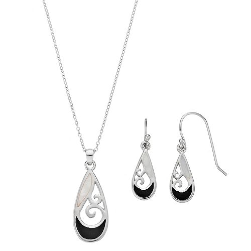 Sterling Silver Mother-of-Pearl & Onyx Filigree Teardrop Jewelry Set