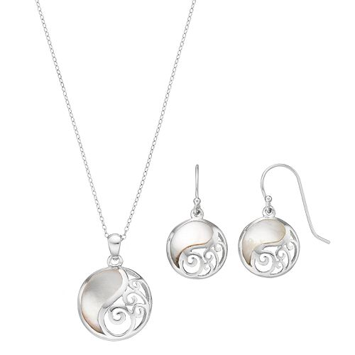 Sterling Silver Mother-of-Pearl Filigree Disc Jewelry Set