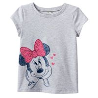 Disney's Minnie Mouse Toddler Girl Embroidered Applique Slubbed Graphic Tee by Jumping Beans®