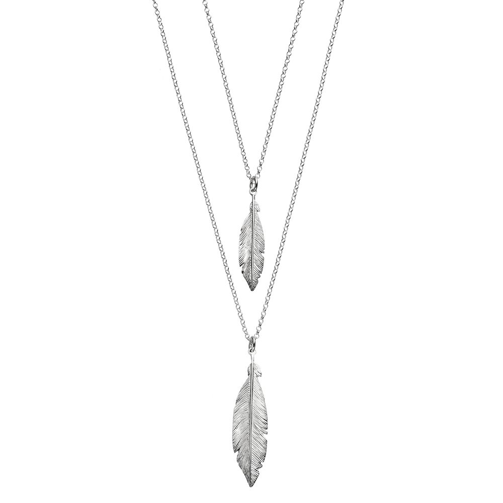 ea331b4998d439 Sterling Silver Double Strand Feather Pendant Necklace