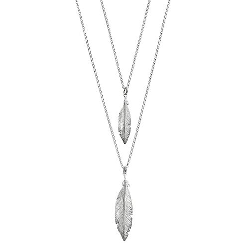 Sterling Silver Double Strand Feather Pendant Necklace