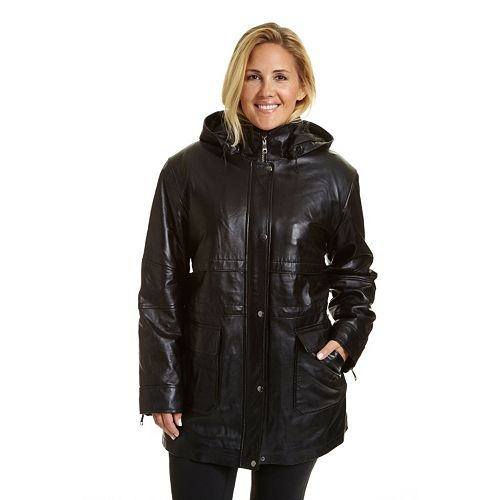 Plus Size Excelled Hooded Leather Parka