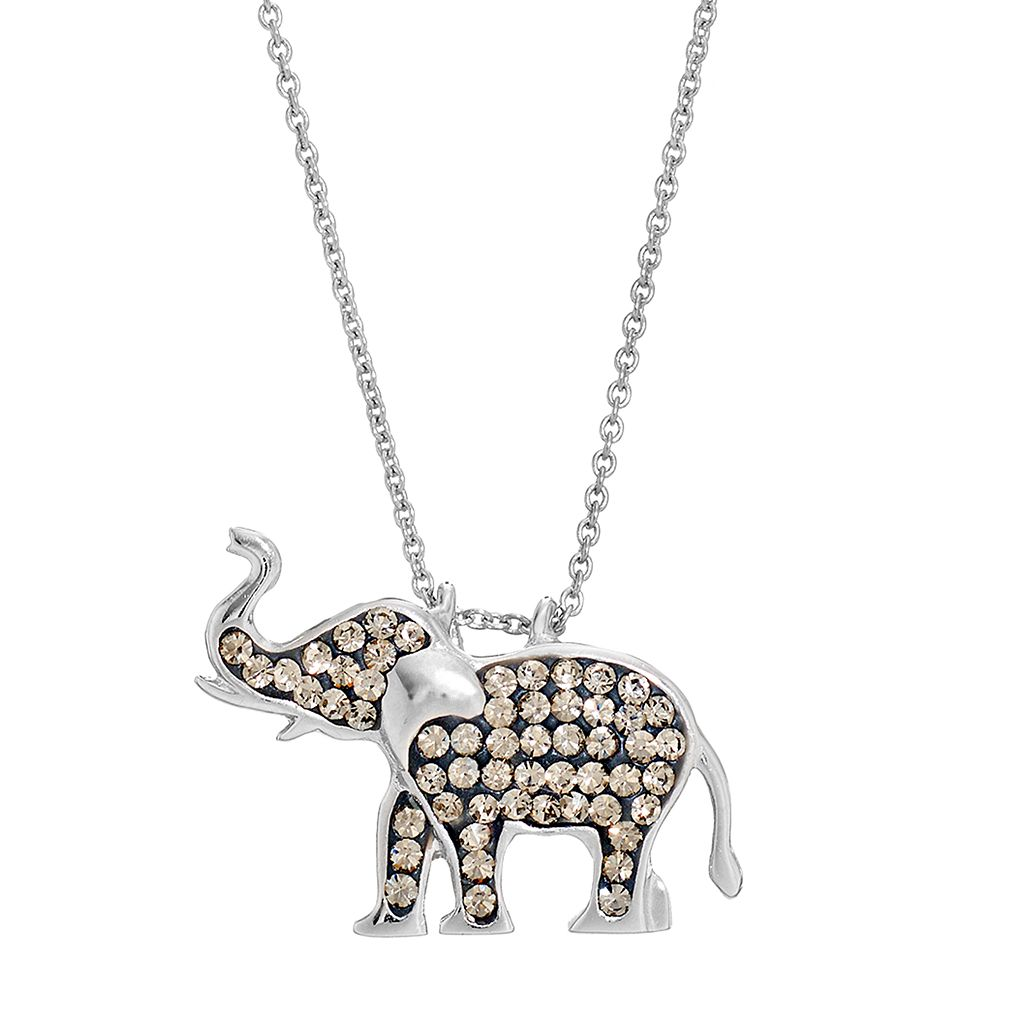 Silver LuxuriesCrystal Elephant Pendant Necklace