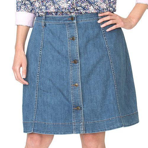Plus Size Chaps A-Line Jean Skirt