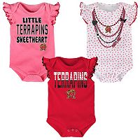 Baby Maryland Terrapins Polka Fan 3-Piece Bodysuit Set
