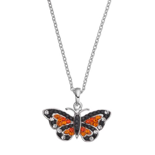 Silver Luxuries Silver Tone Crystal Monarch Butterfly Pendant