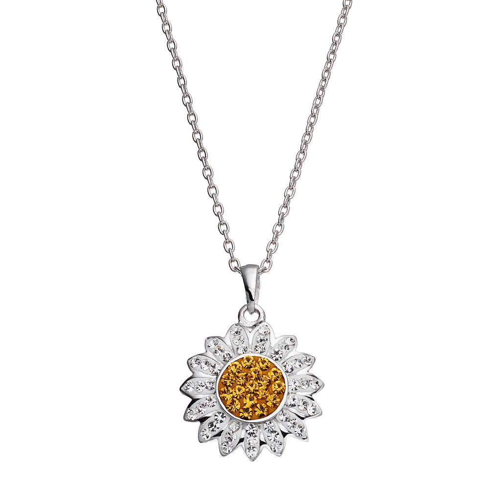 Silver Luxuries Silver Tone Crystal Daisy Flower Pendant