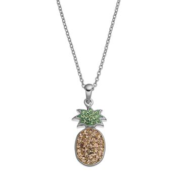 Silver Luxuries Silver Tone Pineapple Pendant Necklace