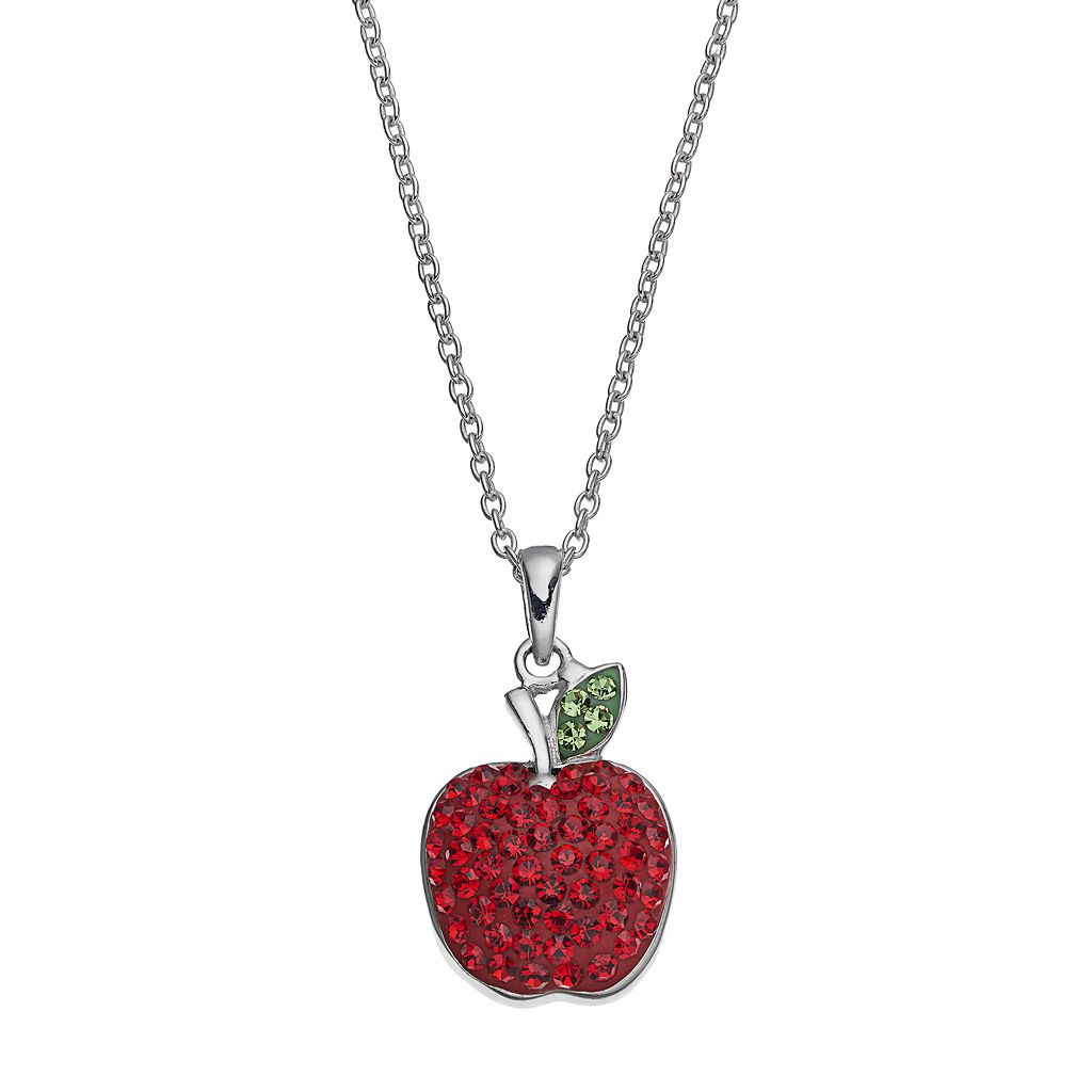 Silver Luxuries Silver Tone Crystal Apple Pendant