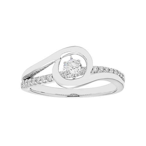 14k White Gold 3/8 Carat T.W. Diamond Oval Twist Ring
