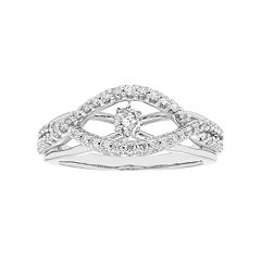 14k White Gold 1/2 Carat T.W. Diamond Twist Ring