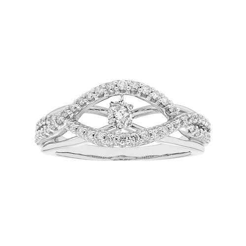 14k White Gold 1/2 Carat T.W. Diamond Twist Ring