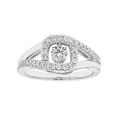 14k White Gold 1/2 Carat T.W. Diamond Rectangle Halo Ring