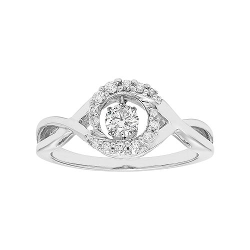 14k White Gold 3/8 Carat T.W. Diamond Crisscross Ring