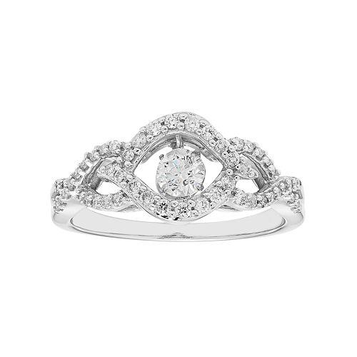 14k White Gold 1/2 Carat T.W. Diamond Woven Ring