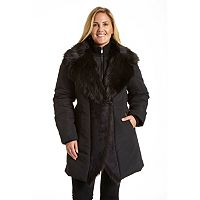 Plus Size Excelled Shawl-Collar Faux-Shearling Jacket
