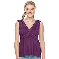 Juniors' Mudd® Crochet-Trim Empire Tank