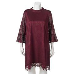 Juniors' Plus Size HeartSoul Lace Bell Sleeve Shift Dress