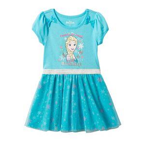 Disney's Frozen Elsa Girls 4-6x Snowflake Mesh Skirt Dress
