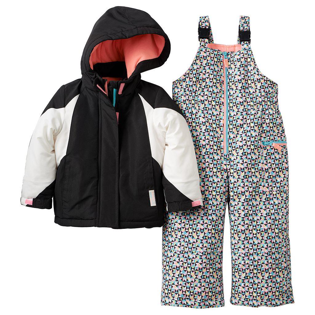 Toddler Girl Carter's Heavyweight Colorblock Jacket & Printed Bib Snow Pants Snowsuit Set