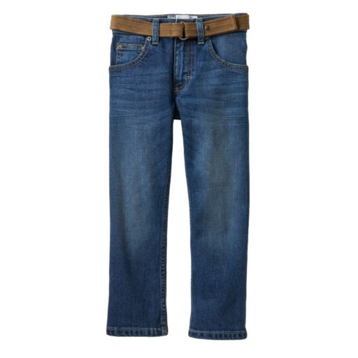 Boys 4-7x Lee Dungarees Slim Straight-Leg Jeans with Easy-Snap Belt