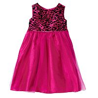 Girls 4-6x Marmellata Classics Velvet Cheetah Glitter Tulle Dress