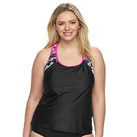 Plus Size ZeroXposur Racerback Mock-Layer Tankini Top
