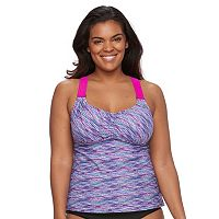 Plus Size ZeroXposur Printed Wide-Strap Tankini Top