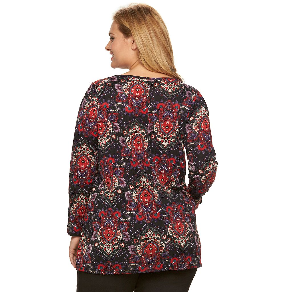 Plus Size Dana Buchman Floral Textured Knit Tunic