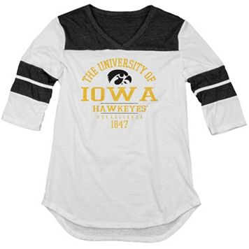 Juniors' Blue 84 Iowa Hawkeyes Arm Stripe Tee
