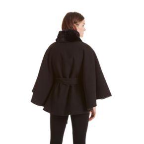 Women's Excelled Faux-Fur Belted Cape Coat