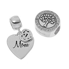 Individuality Beads Sterling Silver 'Mom' Heart Charm & Crystal Family Tree Bead Set