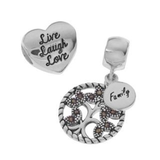 """Individuality Beads Sterling Silver Marcasite Family Tree Charm & """"Live Laugh Love"""" Heart Bead Set"""
