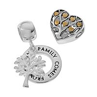 Individuality Beads Two Tone Sterling Silver Family Tree Charm & Heart Bead Set