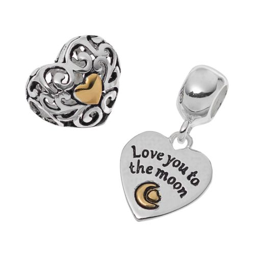 "Individuality Beads Two Tone Sterling Silver ""Love You To The Moon"" Heart Charm & Bead..."
