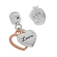 Individuality Beads Two Tone Sterling Silver Heart Charm & Love Knot Bead Set