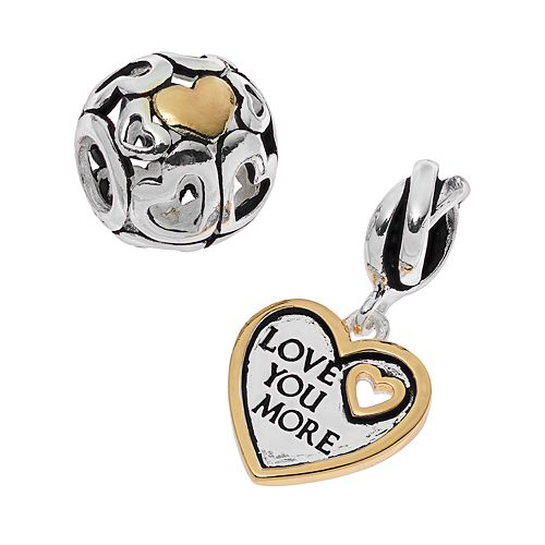Individuality Beads Two Tone Sterling Silver Heart Charm & Bead Set