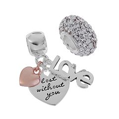 Individuality Beads Two Tone Sterling Silver  Heart Charm & Crystal Bead Set