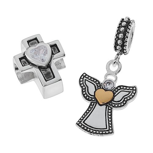 Individuality Beads Two Tone Sterling Silver Cubic Zirconia Cross Bead & Crystal Angel Charm Set
