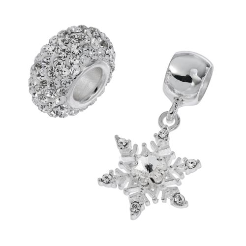 Individuality Beads Sterling Silver Crystal Snowflake Charm & Bead Set