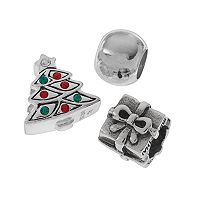 Individuality Beads Sterling Silver Crystal Christmas Tree, Gift & Spacer Bead Set