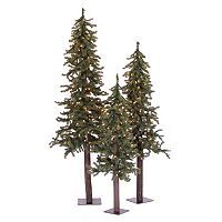 Vickerman Natural Alpine Pre-Lit Christmas Tree 3-piece Set
