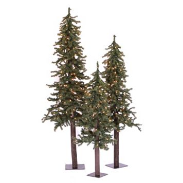 Vickerman Pre-Lit Natural Alpine Christmas Tree 3-piece Set