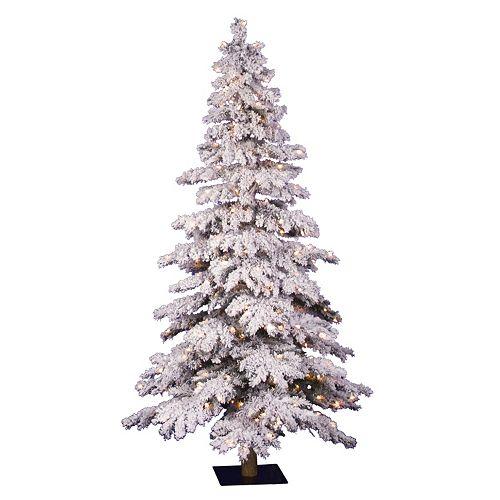 vickerman 5 ft pre lit flocked spruce artificial christmas tree