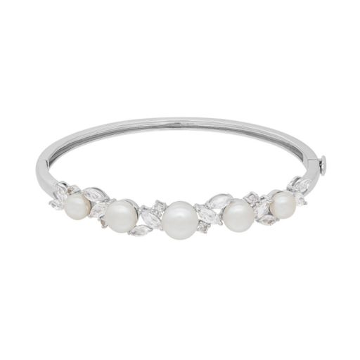 Simply Vera Vera Wang Sterling Silver Freshwater Cultured Pearl & Lab-Created White Sapphire Bangle Bracelet