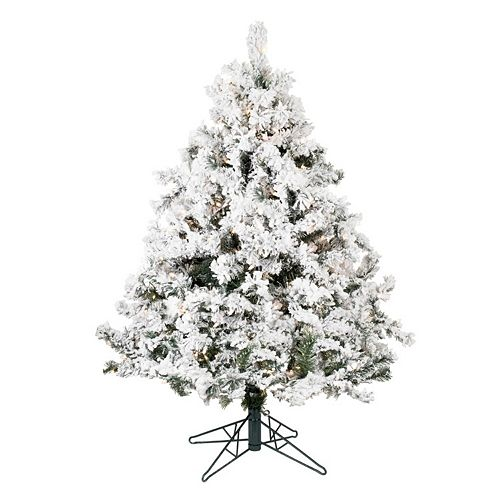 12 Ft Flocked Christmas Tree: Vickerman 4.5-ft. Pre-Lit Flocked Alaskan Pine Artificial