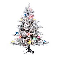 Vickerman 4.5-ft. Pre-Lit Flocked Alaskan Pine Artificial Christmas Tree
