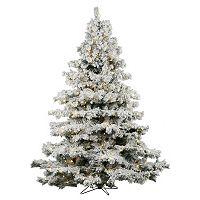 Vickerman 6.5-ft. Clear Pre-Lit Flocked Alaskan Pine Artificial Christmas Tree